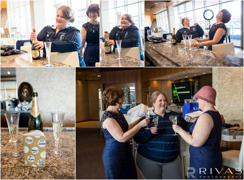 children's mercy park winter wedding | Five candid pictures of a bride sharing champagne with her mom and sister on her wedding day.