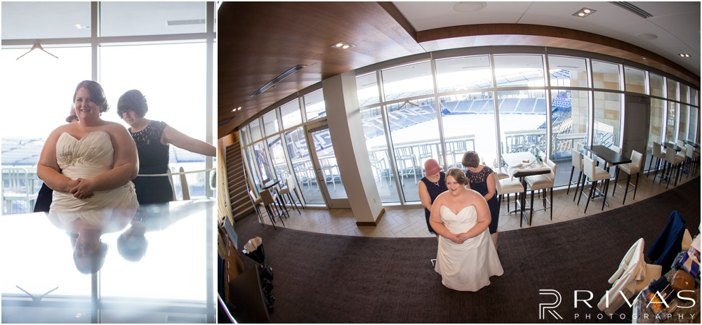 children's mercy park winter wedding | Two pictures of a bride finishing putting her gown on.