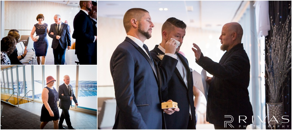 children's mercy park winter wedding | Photos of a groom drying his eyes as the bride's mom and sister walk down the aisle.