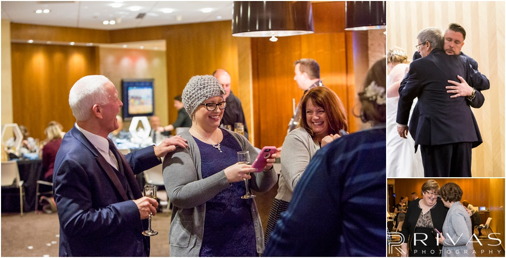 children's mercy park winter wedding | Three candid pictures of a bride and groom celebrating with their friends and family at their private reception at Children's Mercy Park.