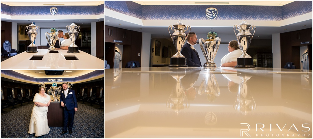children's mercy park winter wedding | Three pictures of a bride and groom with championship soccer trophies at Children's Mercy Park.