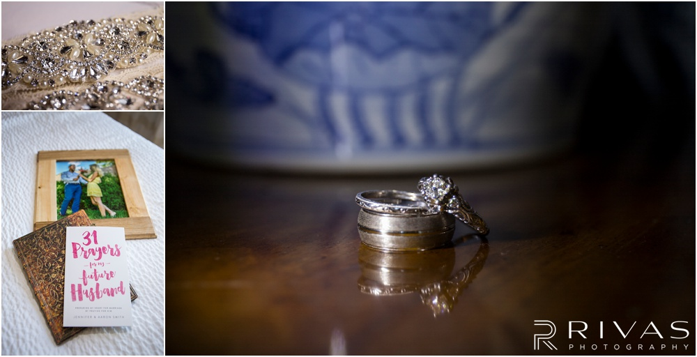 Wedding Day Timeline | Three photos of wedding rings, wedding day gifts, and a bride's garter.