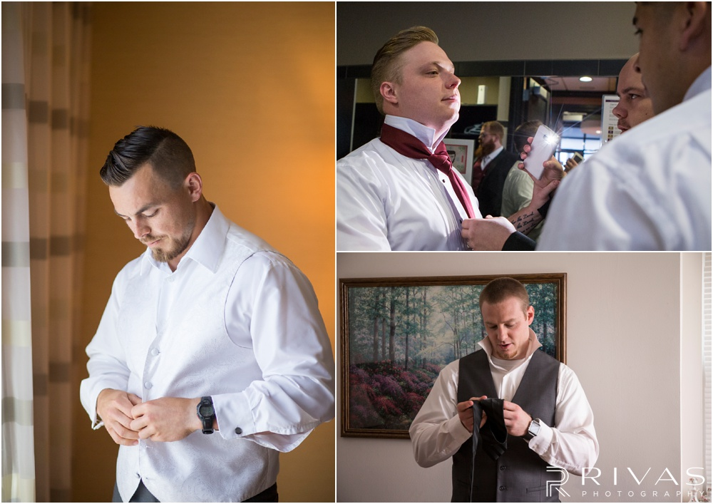 Wedding Day Timeline | Photos of three grooms getting ready for their wedding day in Kansas City.