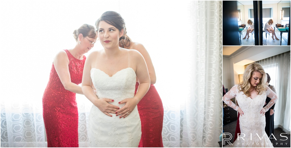 Wedding Day Timeline | Three photos of brides getting dressed for their wedding day in various Kansas City hotels.