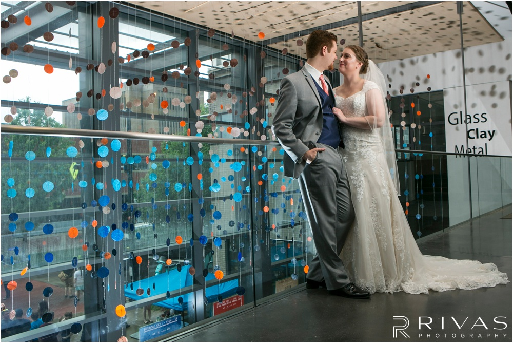 Wedding Day Timeline | Photo of a bride and groom at the Lawrence Art Museum on their wedding day, just after their first look.