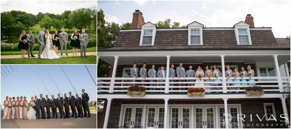 Wedding Day Timeline | Photos of three wedding parties in various locations around Kansas City.