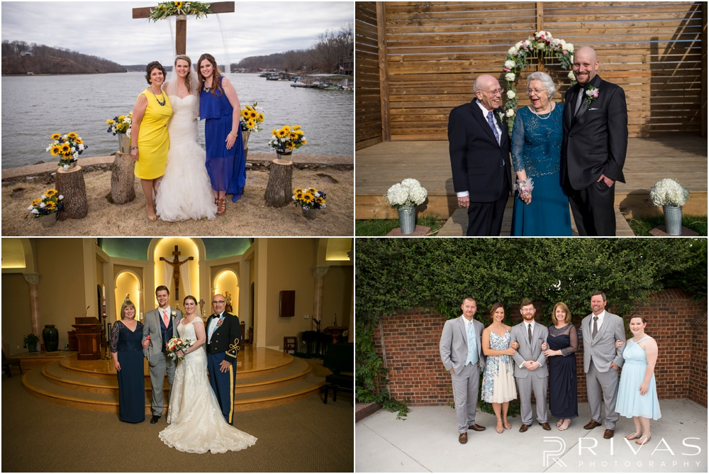 Wedding Day Timeline | Four formal family photos with the bride and groom on wedding days.