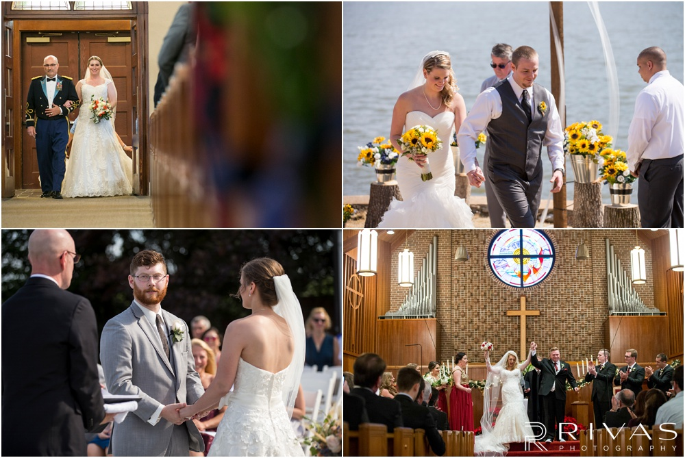 Wedding Day Timeline | Photos of brides and grooms during various stages of their wedding ceremonies.