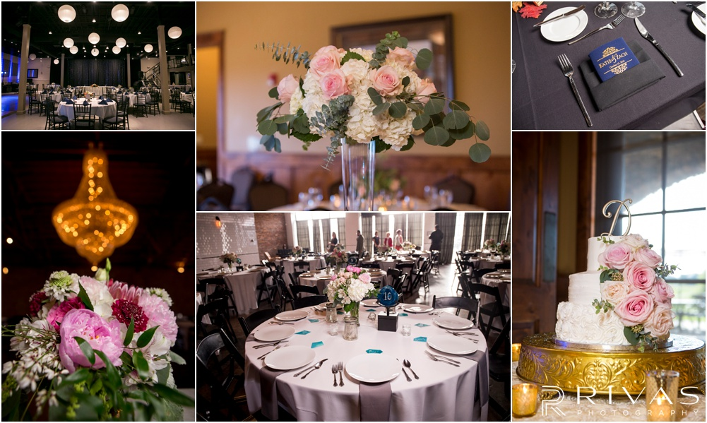Wedding Day Timeline | Six photos of various wedding reception details including table settings, cakes, chandeliers, and centerpieces.