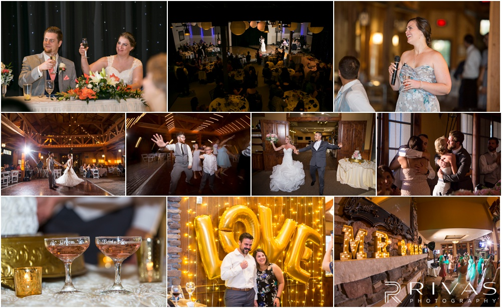 Wedding Day Timeline | Photos of brides and grooms taken during their wedding receptions. Includes first dances, toasts, champagne, entrances, and photo booths.