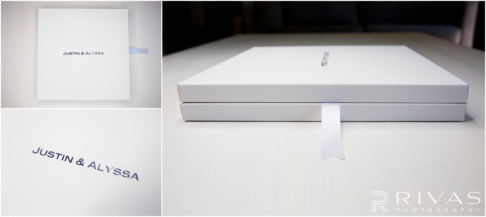 Custom Wedding Albums | Three photos of a GraphiStudio Baby Book in its box with the lid closed.