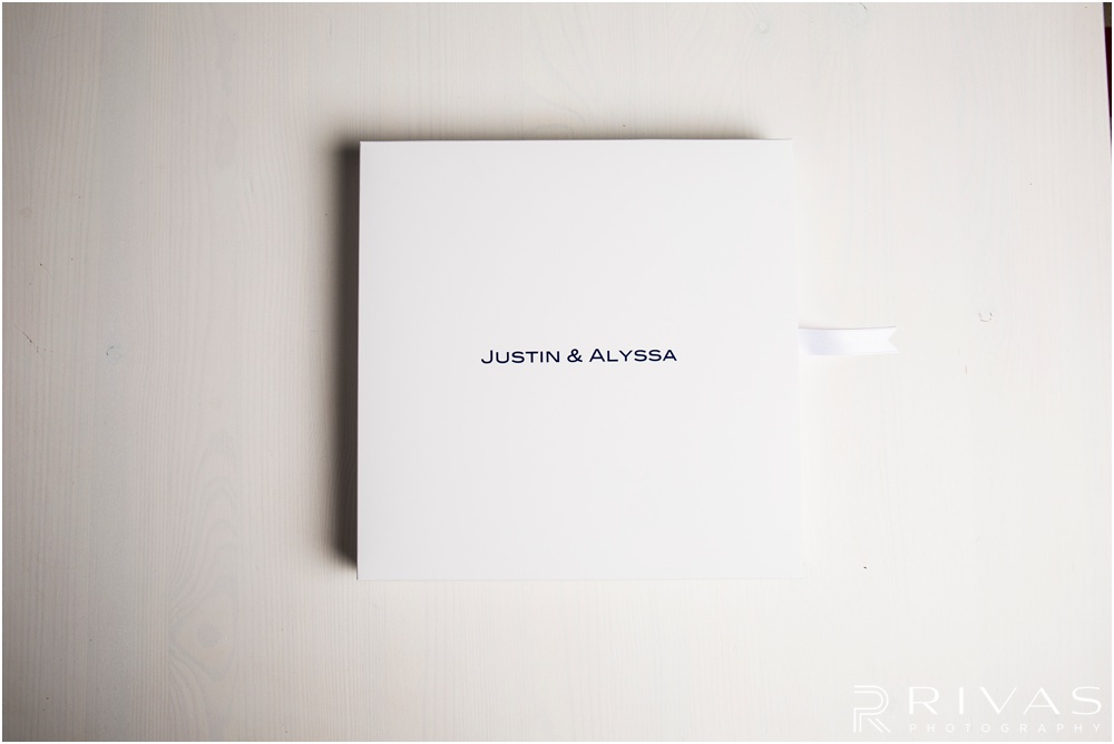 Custom Wedding Albums | Photo of a GraphiStudio Baby Book in its box with the lid closed.