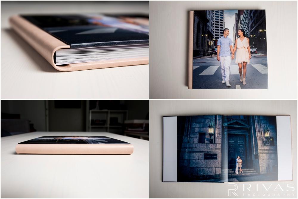 Custom Wedding Albums | Four close-up photos of a GraphiStudio GoBook out of its box.