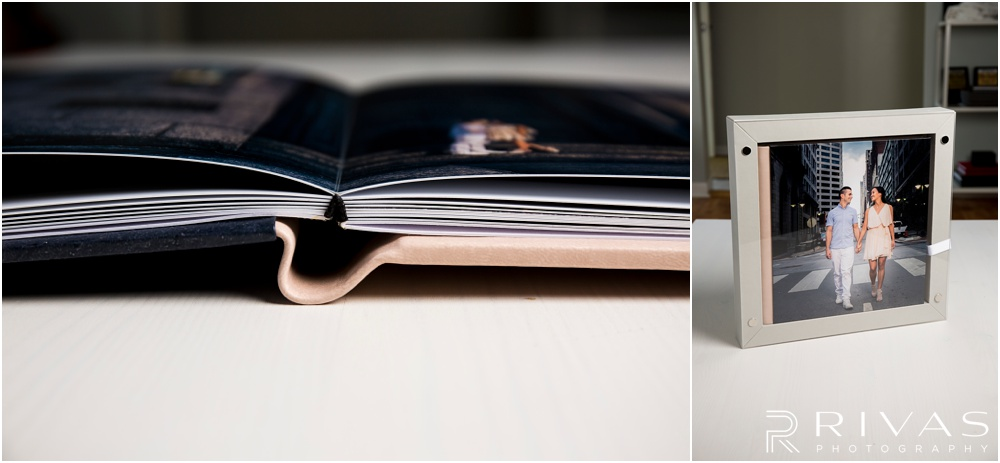 Custom Wedding Albums | Two photos of a GraphiStudio GoBook and its coordinating box.