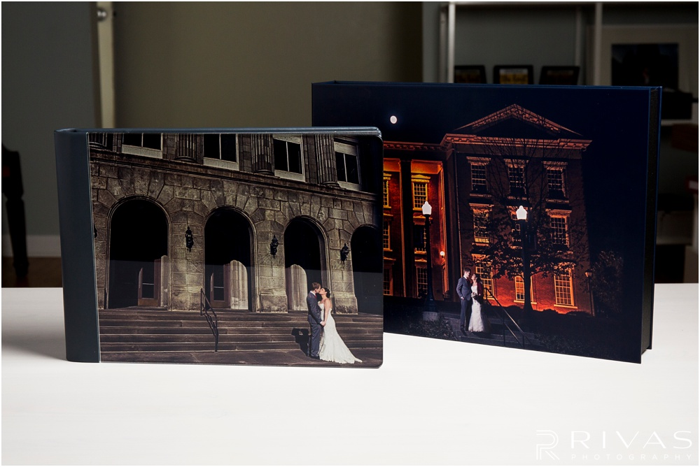 Custom Wedding Albums | Photo of a GraphiStudio Original Wedding Book in its matching Art Box.