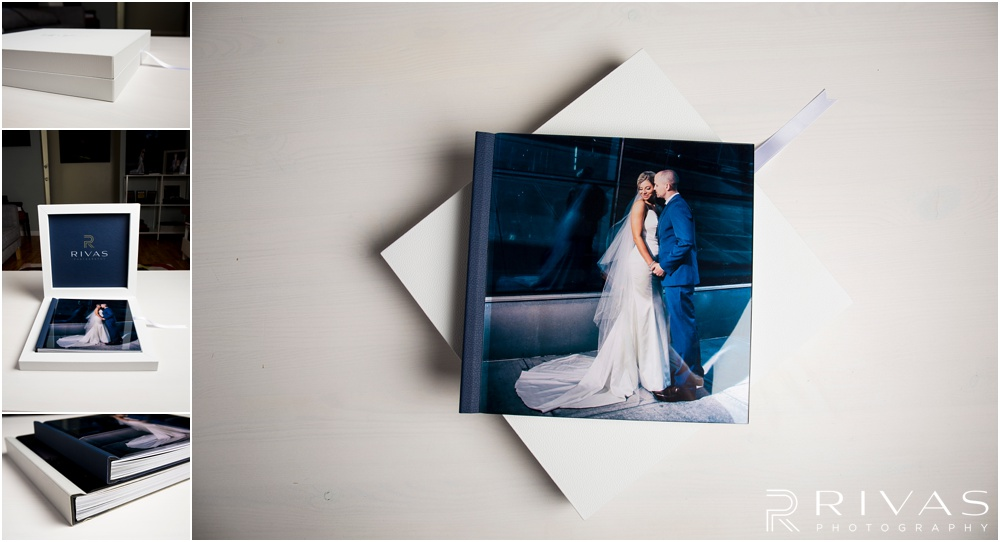 Custom Wedding Albums | Four photos of a GraphiStudio Youngbook with Crystal Glance Cover.