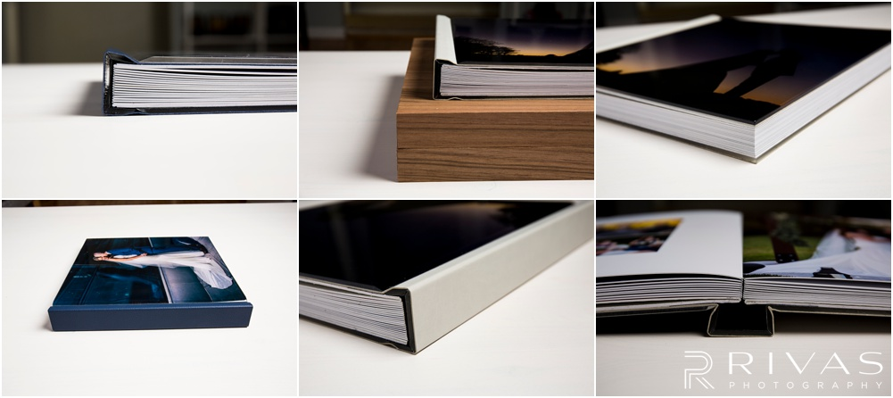 Custom Wedding Albums | Six detailed photos of a GraphiStudio Youngbook with Crystal Glance Cover.
