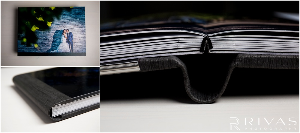 Custom Wedding Albums | Three close-up photos of a wedding album spine and page thickness.
