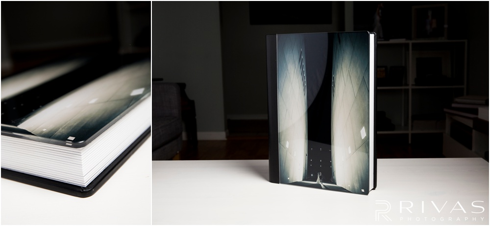Custom Wedding Albums | Two photos of a 12x16 GraphiStudio Original Wedding Book with Crystal Glance Cover.