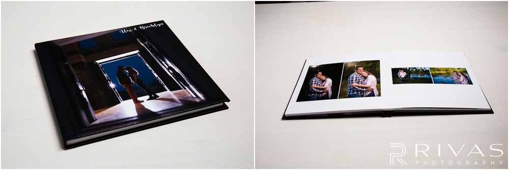Custom Wedding Albums | Two photos of a custom engagement guestbook with an image wrapped cover.