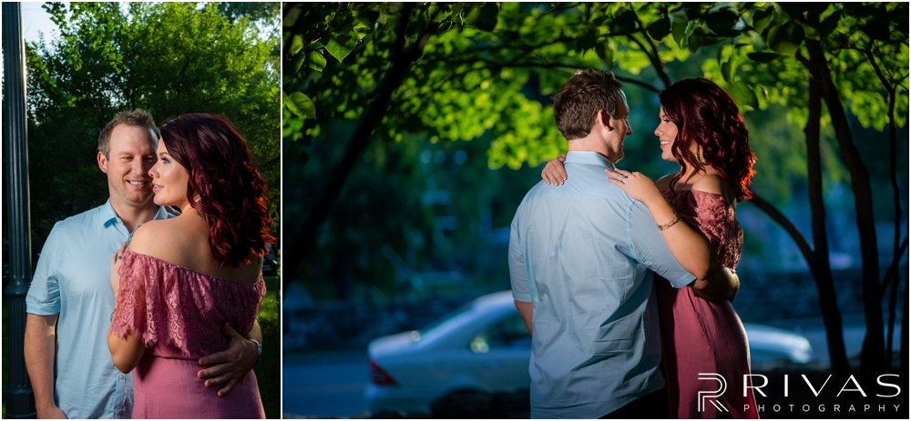 nighttime engagement photos Kansas City | Engagement photos taken on the west side of The Nelson Atkins Museum of Art with an engaged couple.