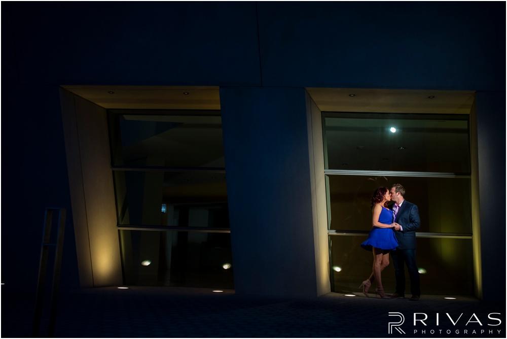 Kansas City Wedding Photography | nighttime engagement photos Kansas City | Rivas Photography