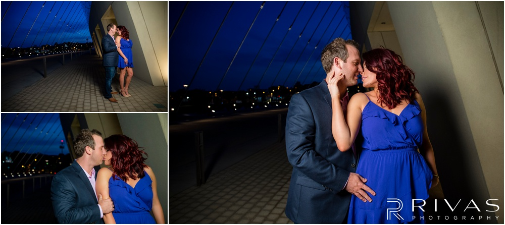 nighttime engagement photos Kansas City  at The Kauffman Center for the Performing Arts with an engaged couple.