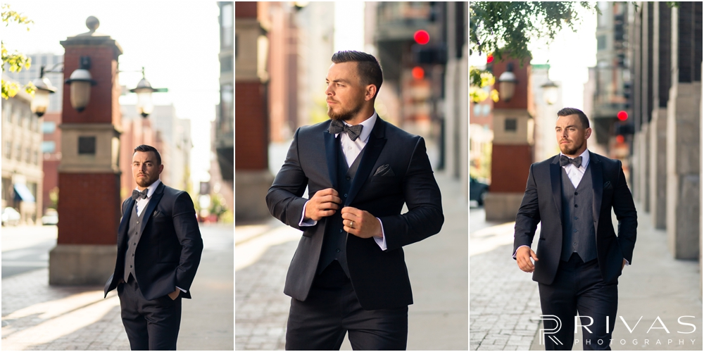 Garment House Styled Bridal Shoot | Three pictures of a groom modeling a Tip Top Tux Suit outside The Garment House in Kansas City.