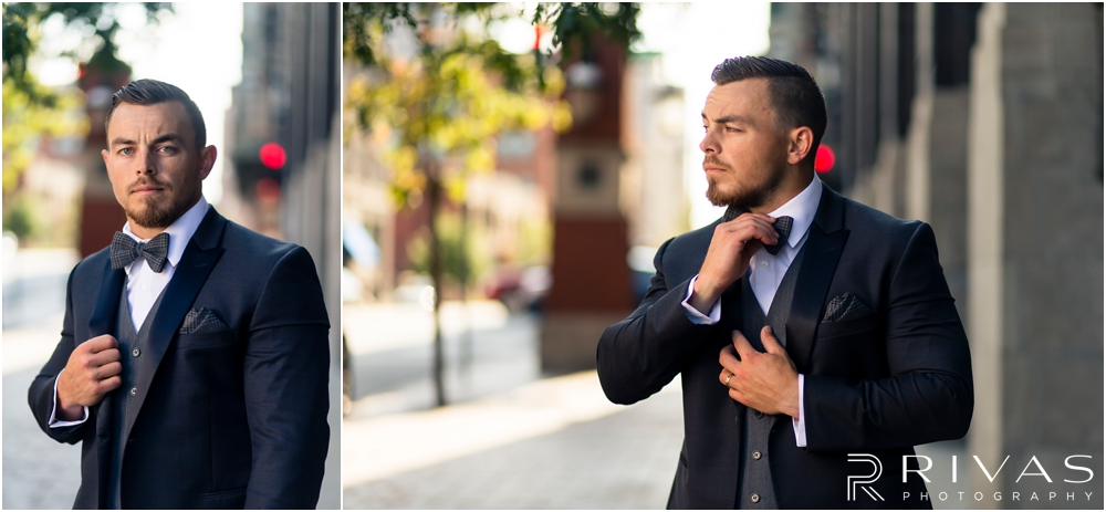 Garment House Styled Bridal Shoot | Two pictures of a groom modeling a Tip Top Tux Suit outside The Garment House in Kansas City.
