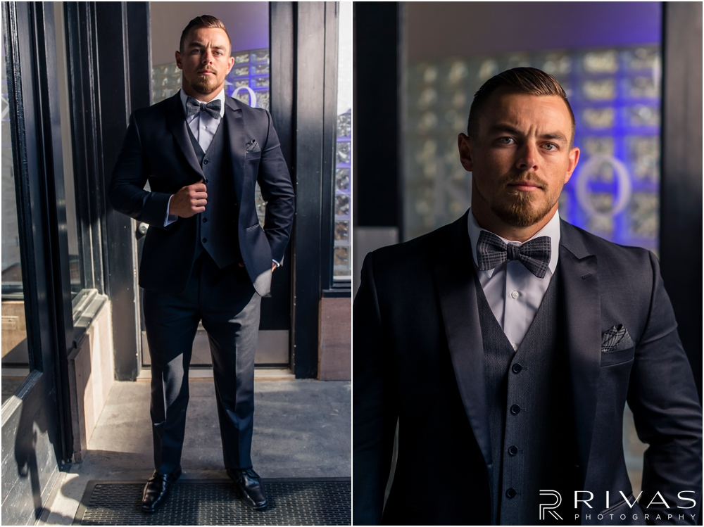 Garment House Styled Bridal Shoot | Two photos of a groom modeling a Tip Top Tux Suit outside The Garment House in Kansas City.