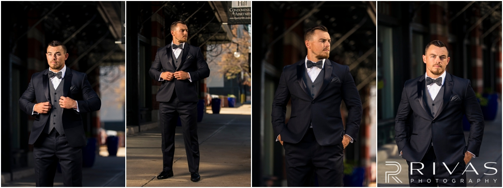 Garment House Styled Bridal Shoot | Four photos of a groom modeling a Tip Top Tux Suit outside The Garment House in Kansas City.