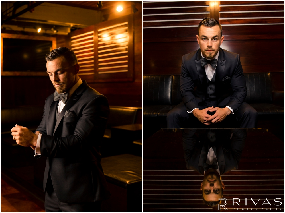 Garment House Styled Bridal Shoot | Two photos of a groom modeling a Tip Top Tux Suit in the basement of The Garment House in Kansas City.