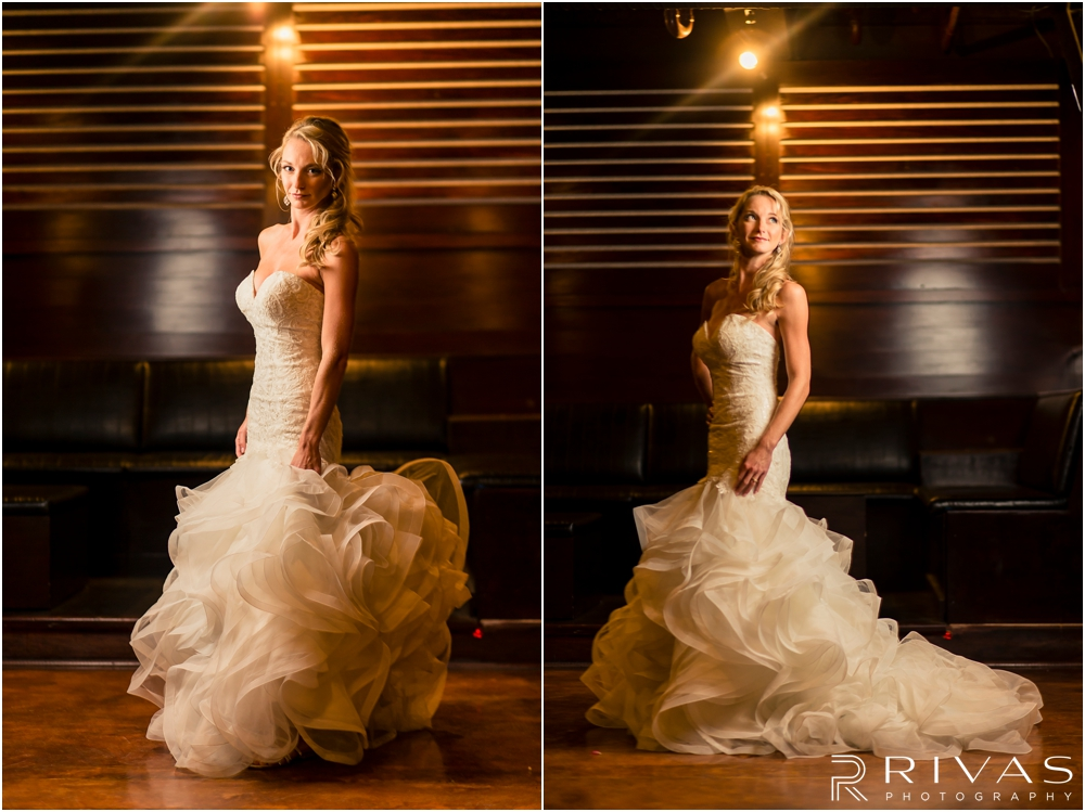Garment House Styled Bridal Shoot | Two photos of a bride in her wedding gown in the basement of The Garment House in Kansas City.