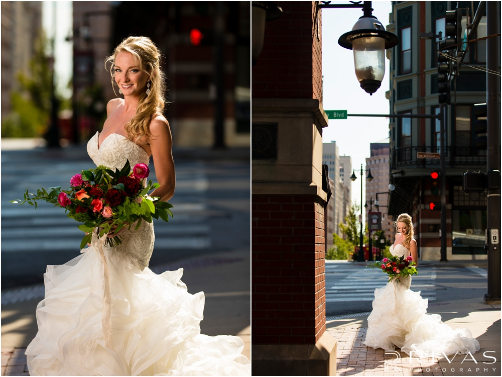 Garment House Styled Bridal Shoot | Two images of a bride outside The Garment House in downtown Kansas City holding Hitched flowers.