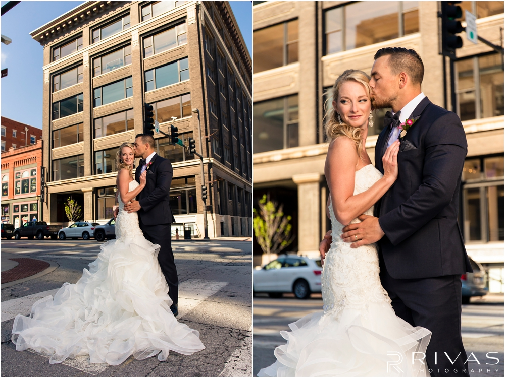 Garment House Styled Bridal Shoot | Two pictures of a bride and groom outside The Garment House in downtown Kansas City.