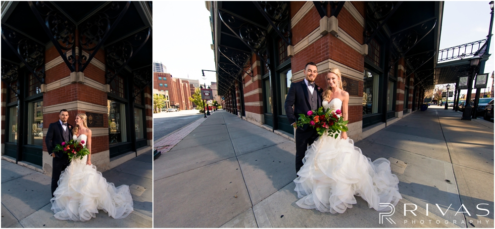 Garment House Styled Bridal Shoot | Two photos of a bride and groom outside The Garment House in downtown Kansas City holding Hitched flowers.