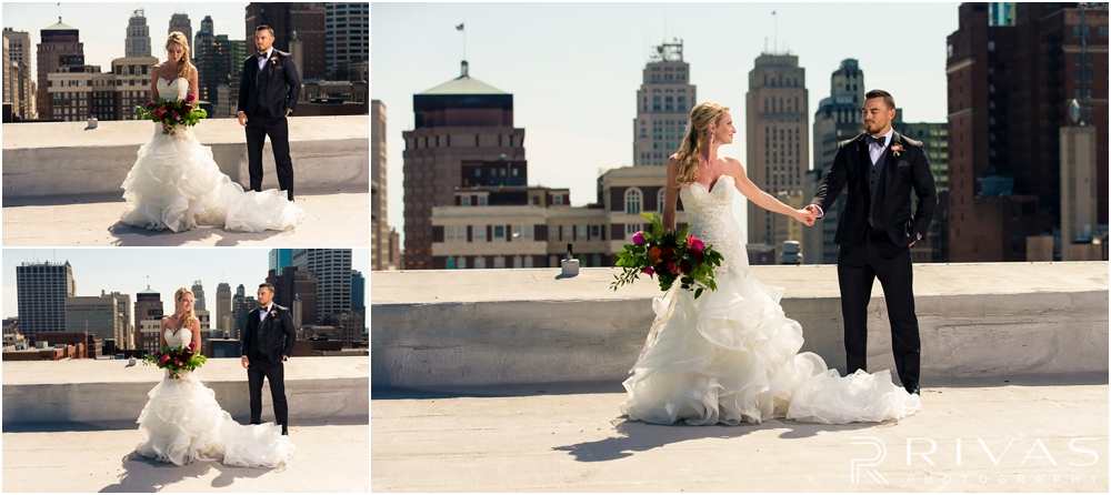 Garment House Styled Bridal Shoot | Three pictures of a bride and groom on the roof of The Garment House in downtown Kansas City holding Hitched flowers.