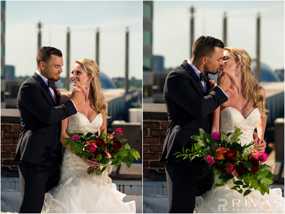Garment House Styled Bridal Shoot | Two photos of a bride and groom on the roof of The Garment House in downtown Kansas City holding Hitched flowers.