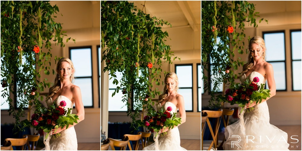 Garment House Styled Bridal Shoot | Three pictures of a bride standing in The Garment House underneath a greenery and rose filled garland styled by Hitched in Kansas City.