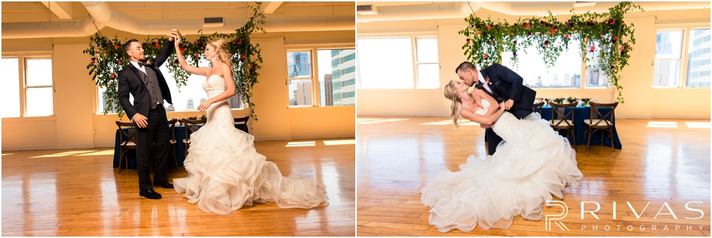 Garment House Styled Bridal Shoot | Two pictures of a bride and groom dancing in front of a table and hanging garland decorated by Hitched at The Garment House in Kansas City.