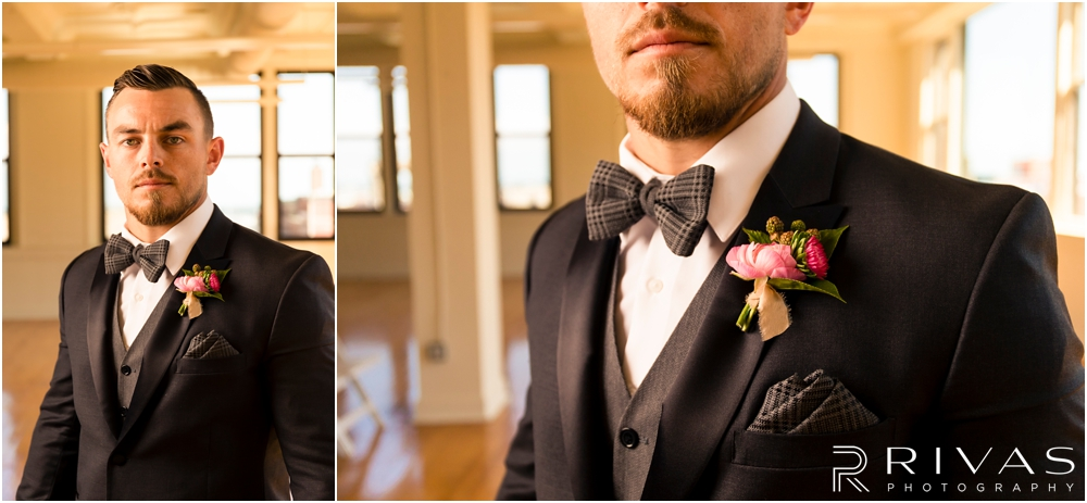 Garment House Styled Bridal Shoot | Two close-up photos of a groom's tweed bow tie and pink flower filled boutonniere at The Garment House in downtown Kansas City.