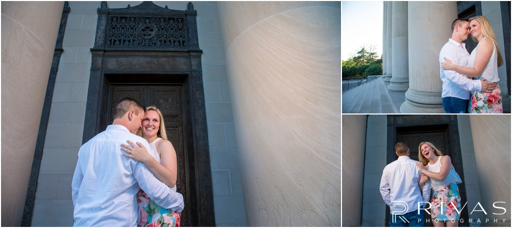Nelson Atkins Summertime Engagement | Three pictures of an engaged couple embracing and laughing with each other by the columns at The Nelson Atkins Museum of Art.