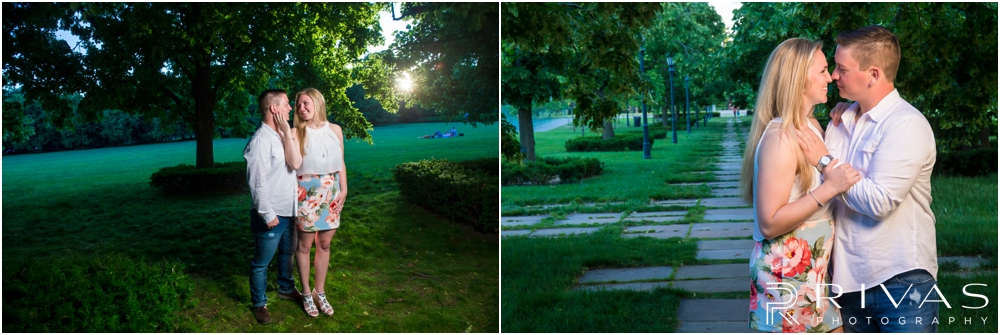 Nelson Atkins Summertime Engagement | Two pictures of an engaged couple embracing on the lawn of the The Nelson Atkins Museum of Art.