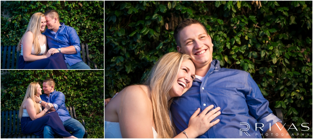 Nelson Atkins Summertime Engagement | Three pictures of an engaged couple sitting on a park bench in front of an ivy wall overlooking Brush Creek just south of the Kansas City Country Club Plaza.