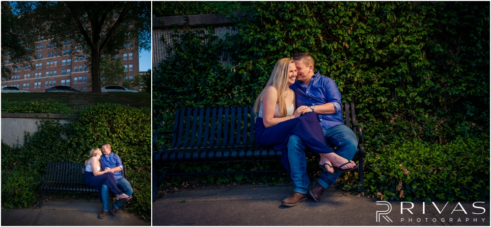 Nelson Atkins Summertime Engagement | Two pictures of an engaged couple sitting on a park bench in front of an ivy wall overlooking Brush Creek just south of the Kansas City Country Club Plaza.