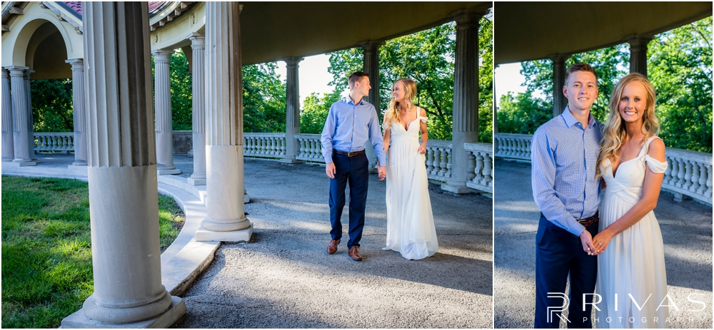 Romantic Spring Engagement Session | Two photos of an engaged couple walking and holding hands at Kansas City's colonnade.