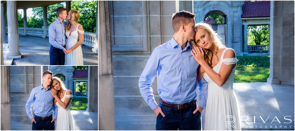 Romantic Spring Engagement Session | Three pictures of an engaged couple holding hands, embracing, and sharing a kiss at Kansas City's colonnade.