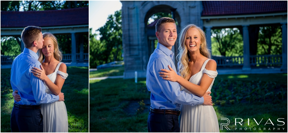 Romantic Spring Engagement Session | Two photos of an engaged couple embracing and laughing at Kansas City's Colonnade.