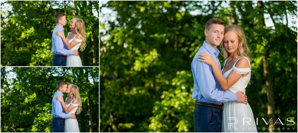 Romantic Spring Engagement Session | Three pictures of an engaged couple embracing in front of greenery at Kansas City's Colonnade.