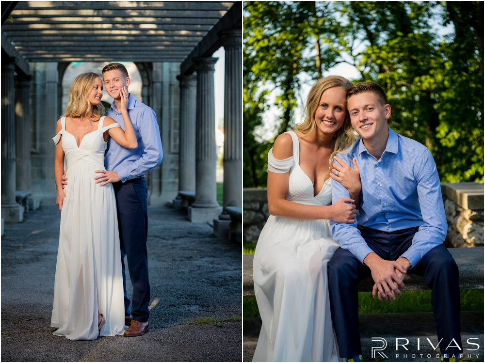 Romantic Spring Engagement Session | Two photos of an engaged couple embracing and smiling at the camera at Kansas City's Colonnade.